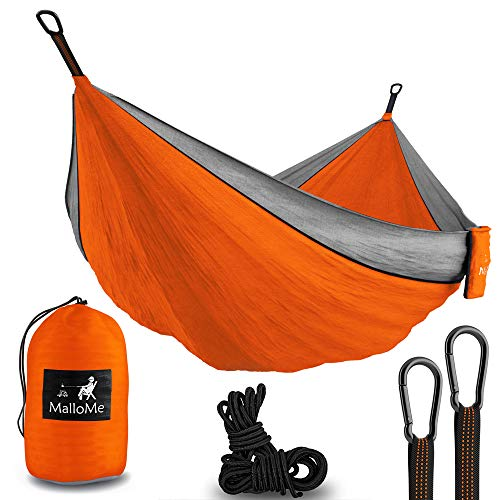 Double Portable Camping Hammock – Parachute Lightweight Nylon with Ropes or Hammok Tree Straps Set- 2 Person Equipment Kids Accessories Max 1000 lbs Breaking Capacity – Free 2 Carabiners