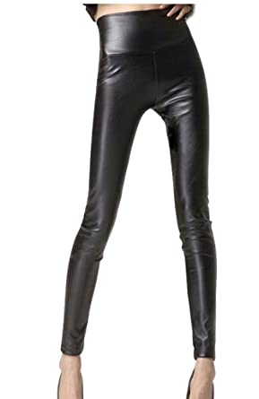 Jntworld Women's Faux Leather High Waisted Leggings at Amazon ...