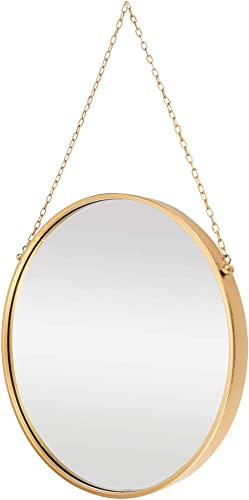 Wall Hanging Mirror Dia 17.7 inch Medium Decor Gold Round Mirror Wall-Mounted Circle Metal Mirror with Hanging Chain for Home Bathroom Bedroom Living Room