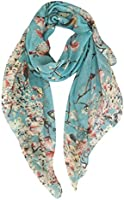 GERINLY - Lightweight Floral Birds Print Shawl Scarf For Christmas Season (Dark Blue)