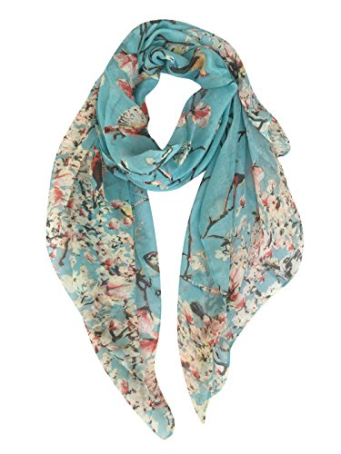 GERINLY - Lightweight Floral Birds Print Shawl Scarf For Spring Season (Light Blue)