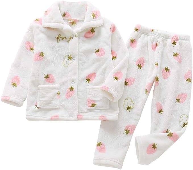 HZYBABY Boys Girls Button Down Fleece Pajama Set Kids Warm Winter Autumn Long Sleeve Sleepwear with Pockets