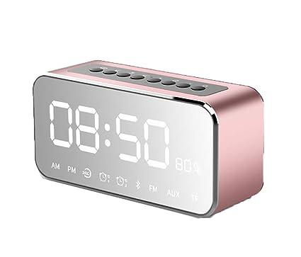 Xifande Música Bluetooth Reloj Despertador Espejo Pequeño Altavoz Multifunción Creativo Ins Reloj Electrónico Estudiante Inteligente Cabecera