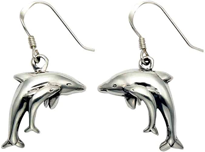 925 Sterling Silver Polished Dolphin Dangle Earrings