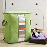 HuntGold Home Quilt Blanket Clothes Storage Zipper Bag Case Container Box Bamboo Fibre(green)