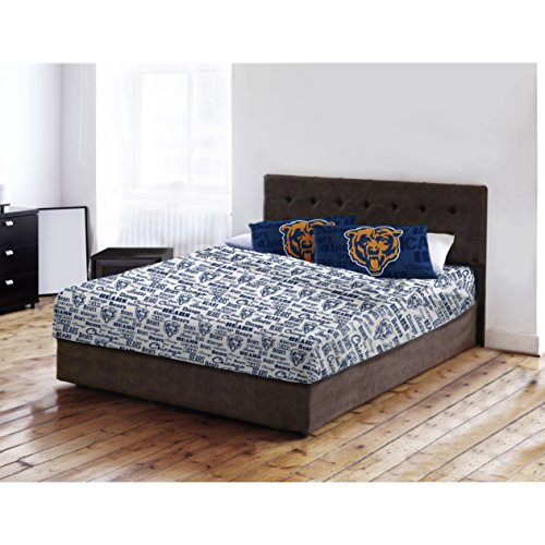 Chicago Bears Full Sheet Set (4 Piece NFL Bears Anthem Sheet Full Set, Football Themed Bedding Sports Patterned, Team Logo Fan Merchandise Athletic Team Spirit Fan, Burnt Orange Navy Blue White, Polyester)