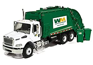 First Gear 1/34 scale Diecast Collectible Waste Management Freightliner M2 with McNeilus Rear Load Refuse Truck with Trash Carts (#10-3287T)