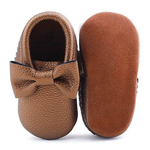 OOSAKU Infant Toddler Baby Soft Sole PU Leather Bowknots Shoes (13 (12-18 Months), Dark Gold) (Soft Footwear Gold Leather)