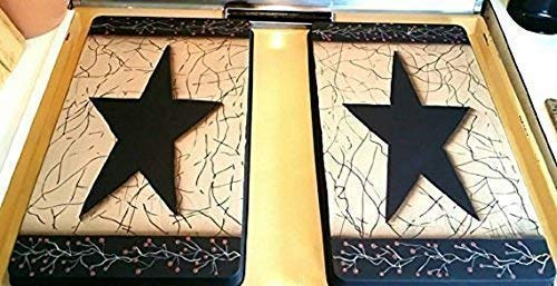 - Primitive Country Decor Hand Painted Farmhouse Style Faux Crackled Stainless Steel Stove Burner Covers Set of 2