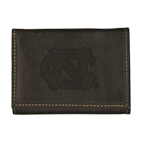 University of North Carolina Contrast Stitch Trifold Leather Wallet (Black)