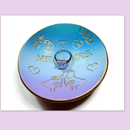 Mr. and Mrs. Ring Dish- Ready to Ship-Handmade Jewelry Holder-Trinket Dish- Polymer Clay Dish- Home Decor- Wedding Gifts Lovebirds Ring (Love Birds Wedding Ring)