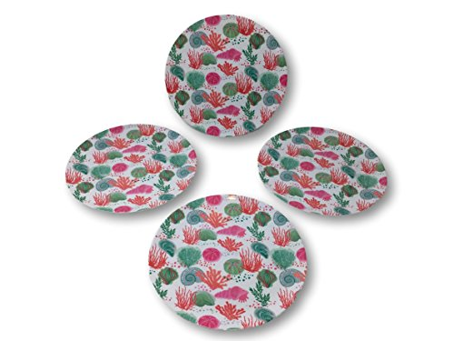 - Summer Designs Melamine Serving Plates, Trays, Bowls - Floral, Bamboo, Pineapple, Flamingo & Beach Sea Theme (Set of 4 Round Plates, Coral Shells)