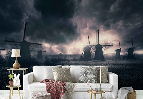 Photo wallpaper wall mural - Windmills Field Stormy Skies - Theme Travel & Maps - L - 8ft 4in x 6ft (WxH) - 2 Pieces - Printed on 130gsm Non-Woven Paper - 1X-1271703V4 by Fotowalls Photo Wallpaper Murals