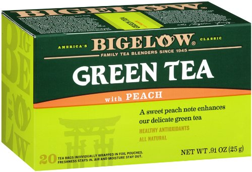 Bigelow Green Tea with Peach, 20-Count Boxes (Pack of 6) (Peach Green Tea)