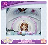 Zak Designs 4 Piece Toddlerific Sofia The First Mealtime Set Includes Sectioned Plate, Bowl & Flatware Utensils, Multicolor