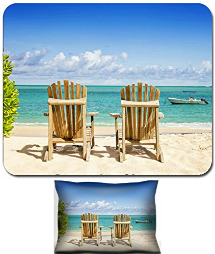 Luxlady Mouse Wrist Rest and Small Mousepad Set, 2pc Wrist Support design IMAGE: 39992910 Two beach chairs on tropical shore horisontal (Best Luxlady Mousepad Beach Chairs)