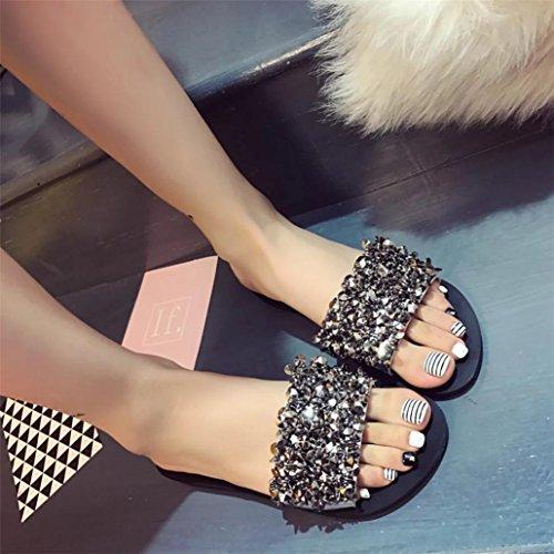 Longra Women's Summer Sandals,Spring Rhinestone Wedges Platform Casual Indoor Outdoor Roman Shoes Sandals Silver