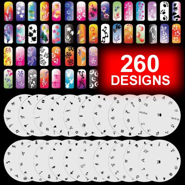 GotHobby 20 Airbrush Nail Stencil Sheets Design Art Paint Pages 1-20 (Airbrush Paint Stencil)