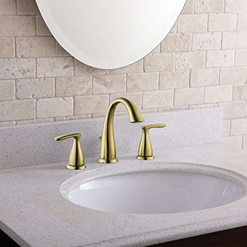 AquaSource Polished Brass 2-Handle Widespread WaterSense Bathroom Faucet (Drain Included)