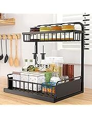 Keukenrek, 2 dieren, telescopisch rek, keukenrek, staand rek, etagenrek met uittrekbare manden, metalen planken, kruidenorganizer, kruidenrek, kruidenrek voor keukenkast, kruidenrekken voor wanden