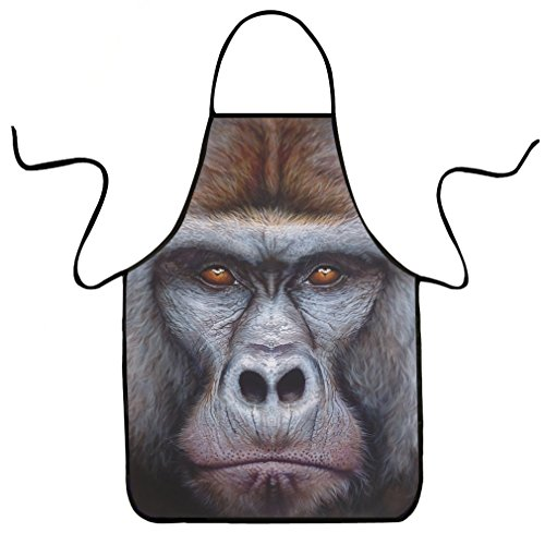 Funny Commercial Costume Ideas (VIPbuy Novelty 3D Gorilla Animal Print Funny Kitchen Bib Apron Unisex for Cooking BBQ Party Commercial Craft)