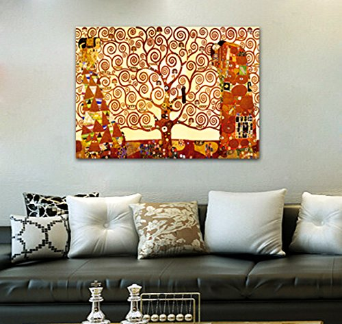 amazoncom wieco art tree of life large modern stretched and framed giclee canvas prints by gustav klimt classical oil paintings love pictures on canvas
