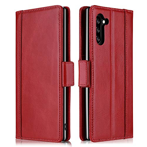 ProCase Galaxy Note 10 Genuine Leather Case, Vintage Wallet Folding Flip Case with Kickstand Card Slots Protective Leather Case for Galaxy Note 10 2019 -Red