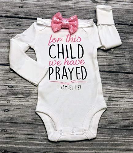 christian baby bodysuit, For this child we have prayed bodysuit, christening bodysuit, baptism bodysuit, 1 Samuel 1:27, bible verse bodysuit, religious bodysuit, miracle baby - rainbow baby - nicu