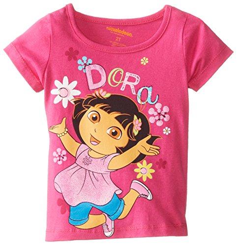 Nickelodeon Little Girls' Dora Flower Short Sleeve Tee, Berry Gift, 2T