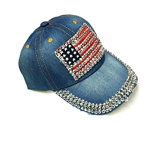 (AISHNE Women American Flag Rhinestone Jeans Denim Baseball Adjustable Hat Blue)