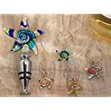 Murano Art Deco Combination Set Starfish Stopper And Wine Charms C2821 Quantity of 1 by Cassiani