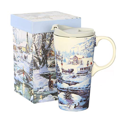 (CEDAR HOME Coffee Ceramic Mug Porcelain Latte Tea Cup With Lid in Gift Box 17oz. Winter Scene)
