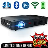 WOWOTO T8E Full HD Mini Portable Projector WiFi&Bluetooth Home Theater Projector Support 1080P Max300 DLP 3D Video Projector Built in Battery 7800mAh Android System For Gaming Business&Education