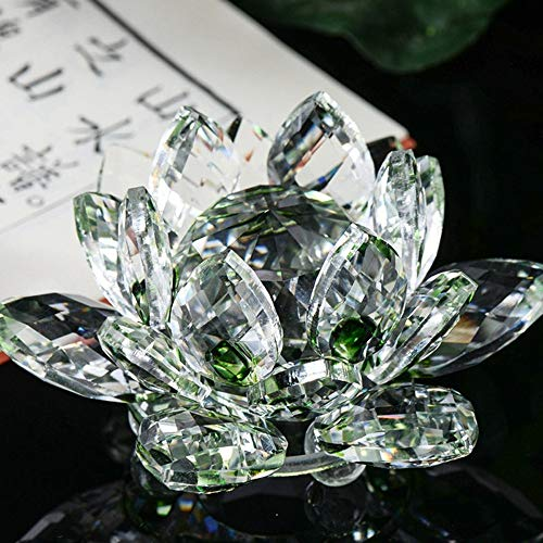 (7 Colors Crystal Glass Lotus Decorated Light Holder Feng Shui Decor Collection Home Decor - Shipped from US ( B))