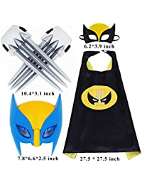Wolverine 5 Packs Cartoon Costumes Light Mask & Satin Cape & Safe Claws Role Play Dress Up Costumes for Kids