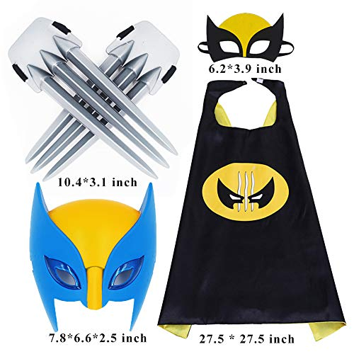 (Comics Cartoon Wolverine Costume Cape & Luminous Mask and Claws Dress Up Costumes for Kids Party Black)