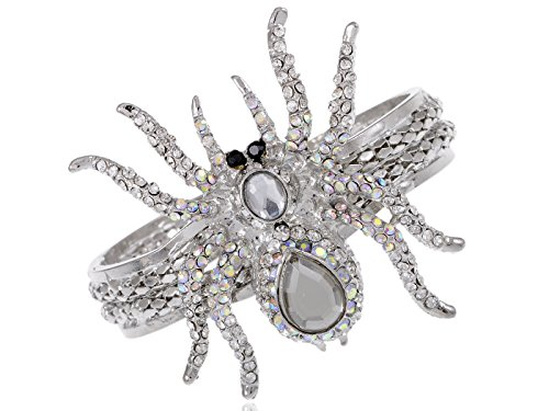 Alilang Silvery Metal White Clear Crystal Rhinestone Spider Bangle Bracelet Halloween (Black Widow Witch Costume)