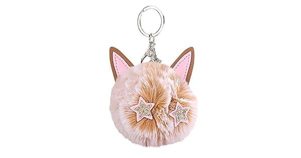 Amazon.com: Gbell Pompón bolas llaveros esponjosos gatos ...
