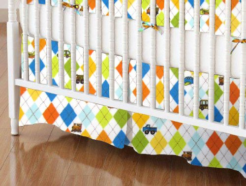 SheetWorld - Crib Skirt (28 x 52) - Argyle Transport - Made In USA