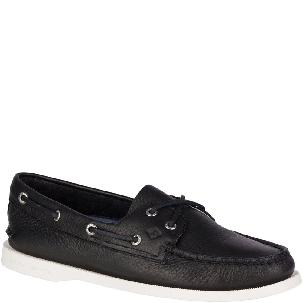 Sperry Top-Sider Women's a/O 2-Eye Boat Shoe, Black, 8.5 Medium US