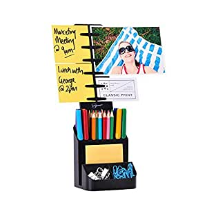 NoteTower Desktop Organizer Black - Sticky Note Holder & Office Supplies Caddy - Displays Photos, Sticky Notes, Business Cards & Holds Pens & Pencils + BONUS 50 Sheets 3x3 Sticky Notes