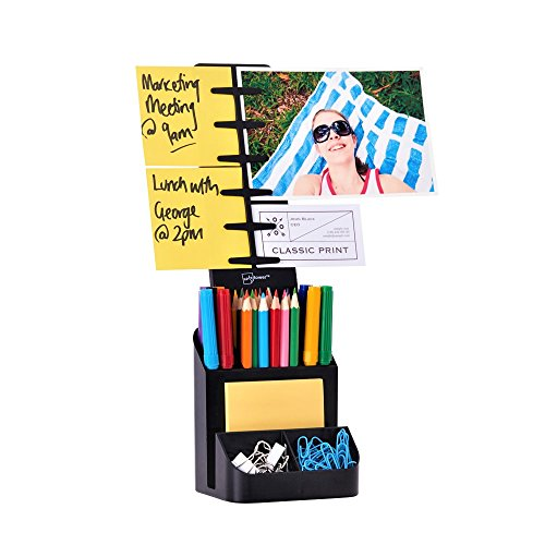 Photo Pen Holder (NoteTower Desk Supplies Organizer Caddy, Black – Displays Photos & Organizes Sticky Notes – Sticky Notes Included)