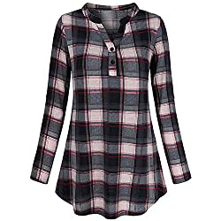 Blouses For Womens Foruu Ladies Button Zipper V Neck Long Sleve Casual Roll Up Print Tunic Tops Shirts