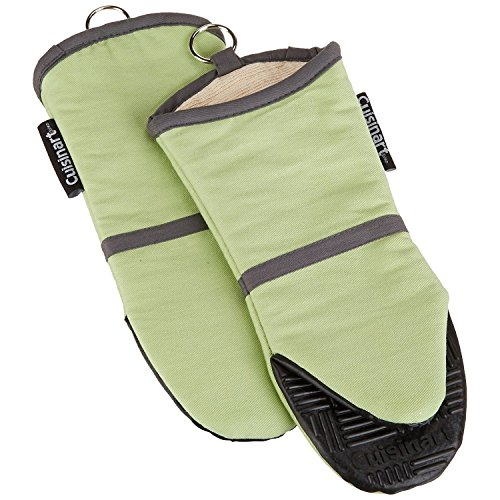 Oven Hot Mitt (Cuisinart Oven Mitt with Non-Slip Silicone Grip, Heat Resistant to 500° F, Sage Green, 2-Pack)