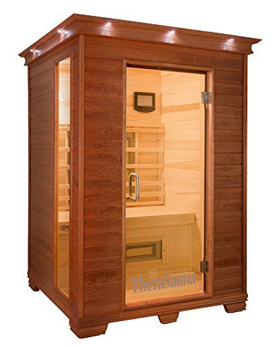 (QCA Spas TheraSauna TS5753 2-Person Plus Infrared Health Sauna, 57 by 52 by 78-Inch, Warm Mahogany)
