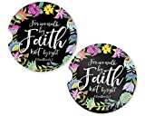 Car Coaster Absorbent Sandstone (SET of 2) - 2.56'' x 0.30'' Cup Holder Set Inspirational (Walk By Faith)