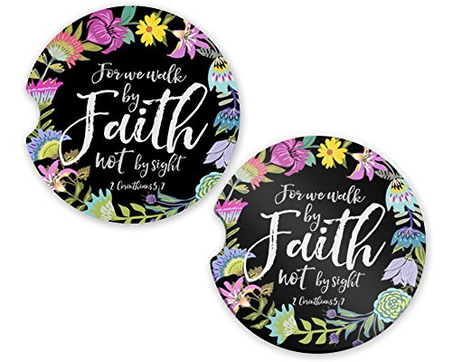 Car Coaster Absorbent Sandstone (SET of 2) - 2.56'' x 0.30'' Cup Holder Set Inspirational (Walk By Faith) by The Navy Knot