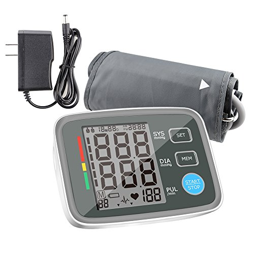 ALOFOX Blood Pressure Monitor Accurate Automatically Measure Pulse Diastolic Systolic Upper Arm Bp Machine for Home Use 2 User Mode with Large Cuff and 2x120 Sets Memory FDA Approved(Grey+White) by ALOFOX