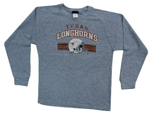 Texas Longhorns Genuine Stuff Youth Gray Team Honor L/S Thermal Waffle Shirt (Youth Large)
