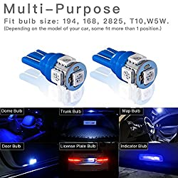 Marsauto 10pcs Blue T10 194 168 Bright Instrument